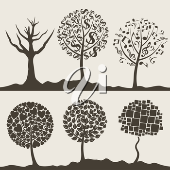 Silhouettes of trees on a white background. A vector illustration