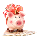 Christmas deposit concept. Piggy bank with festive bow isolated on white.