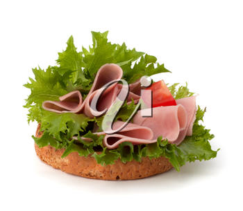 healthy sandwich with lettuce and smoked ham  isolated on white background