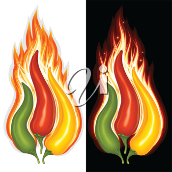 Royalty Free Clipart Image of Chili Peppers on Fire