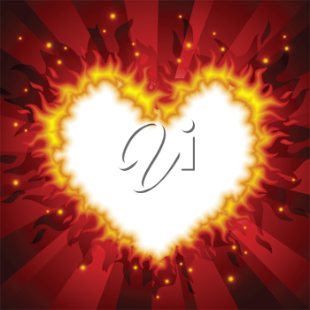 Royalty Free Clipart Image of a Heart on Fire