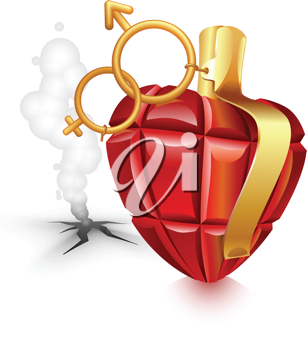 Royalty Free Clipart Image of a Grenade Heart