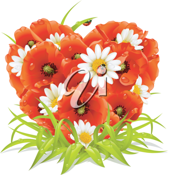 Royalty Free Clipart Image of a Flower Heart