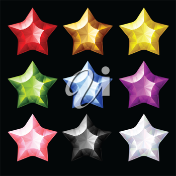 Royalty Free Clipart Image of Jewel Stars