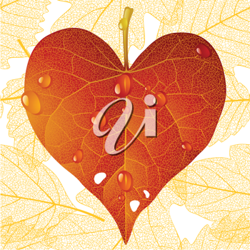 Royalty Free Clipart Image of a Leaf Shaped Heart