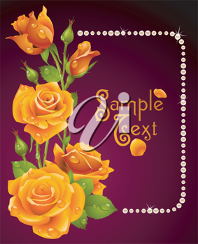 Royalty Free Clipart Image of a Rose Frame Element