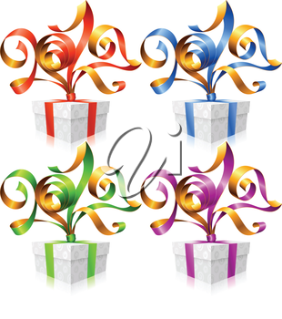 Vector set of ribbons and gift boxes. Symbol of New Year 2017
