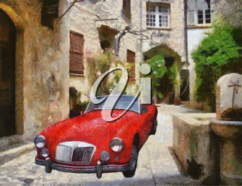 Royalty Free Photo of an Oil Painting of a MGA Sports Car 1975