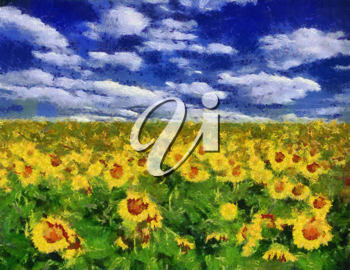 Royalty Free Photo of a Painting of a Sunflower Field
