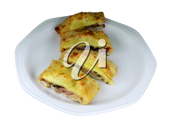 Isolated Sliced Pizza Pie with Filling on White Plate