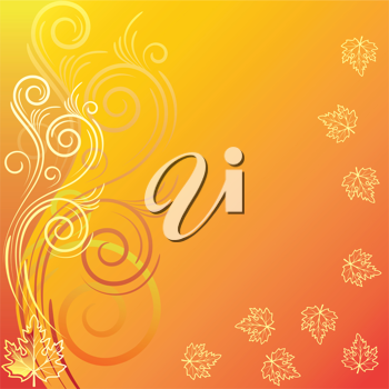 Royalty Free Clipart Image of a Yellow Gold Background With Leaves and Flourishes