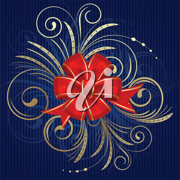 Royalty Free Clipart Image of a Red Bow on a Blue Background With Flourishes
