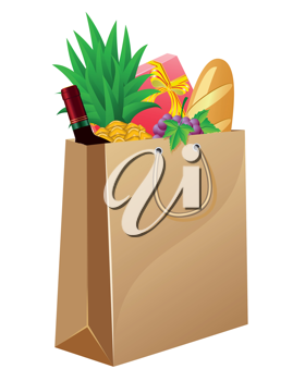 Royalty Free Clipart Image of a Shopping Bag of Groceries