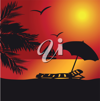 Royalty Free Clipart Image of a Sunset at the Seaside