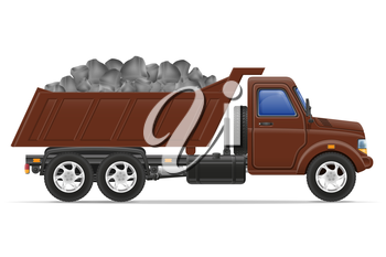 cargo truck delivery and transportation of construction materials concept vector illustration isolated on white background