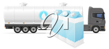 truck semi trailer delivery and transportation of milk concept vector illustration isolated on white background