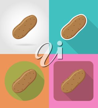 potatoes vegetable flat icons with the shadow vector illustration isolated on background