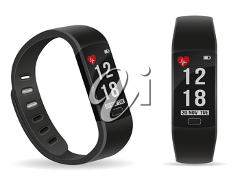 digital smart fitness watch bracelet with touchscreen stock vector illustration isolated on white background