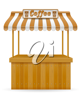 street food stall coffee vector illustration isolated on white background