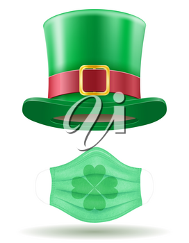 st patrick's day leprechaun hat with virus mask vector illustration isolated on white background