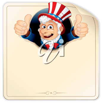Cartoon Uncle Sam with Blank Paper Sign, ready for your design