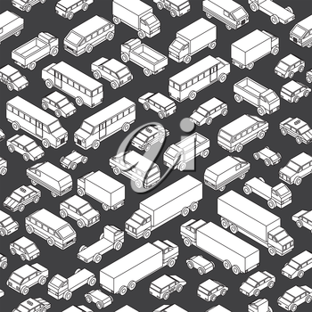 Isometric Seamless Car Parking. Black and White Contour Automobiles, Trucks, Buses, Vans. Vector Pattern