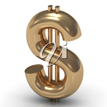 Royalty Free Clipart Image of a Gold Dollar