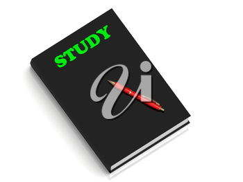 STUDY- inscription of green letters on black book on white background