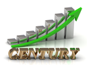 CENTURY- inscription of gold letters and Graphic growth and gold arrows on white background