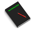 MATHEMATICS- inscription of green letters on black book on white background