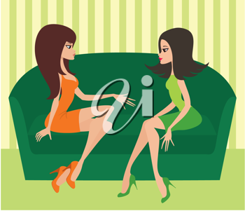 Royalty Free Clipart Image of Two Women Talking on a Couch