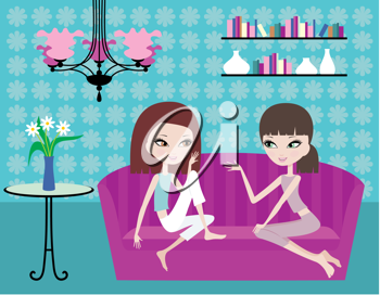 Royalty Free Clipart Image of Two Girls Talking on a Sofa