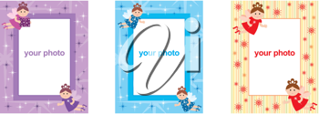 Royalty Free Clipart Image of Frames With Fairies