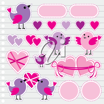 Royalty Free Clipart Image of Birds and Hearts