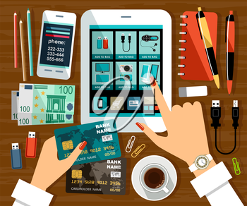 Image of an online store on the tablet screen and female hands with a credit card. Vector illustration
