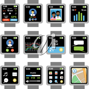 Square smartwatch. Applications on the screen. Vector