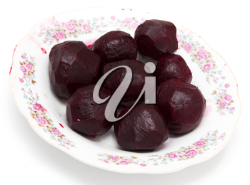 boiled beets on a white background