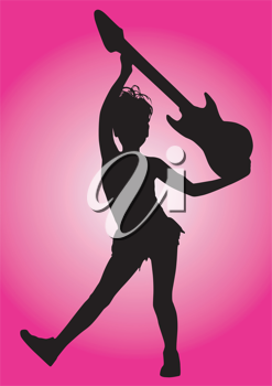Royalty Free Clipart Image of a Little Guitar Player in Silhouette on a Pink Background