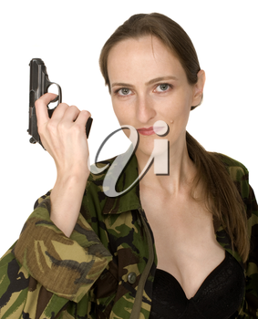 Woman with gun, isolated on white
