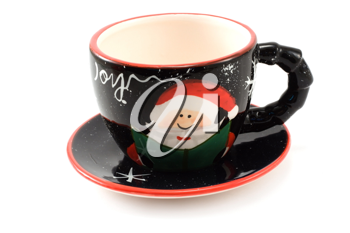 Royalty Free Photo of a Christmas Cup and Saucer