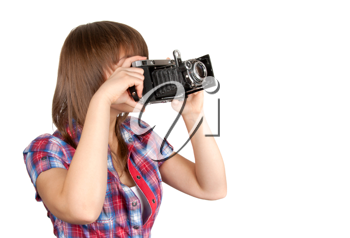 Royalty Free Photo of a Girl Holding an Analog Camera