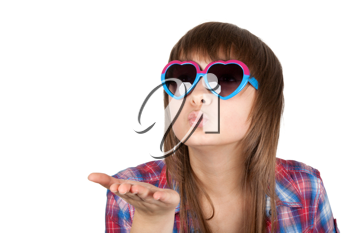 Royalty Free Photo of a Girl Blowing a Kiss