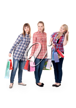Royalty Free Photo of Three Girls Holding Bags