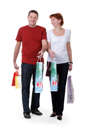 Royalty Free Photo of a Family Holding Shopping Bags