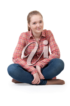 Royalty Free Photo of a Girl Sitting in Lotus Position