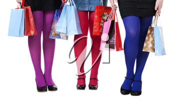 Royalty Free Photo of Girls Holding Shopping Bags