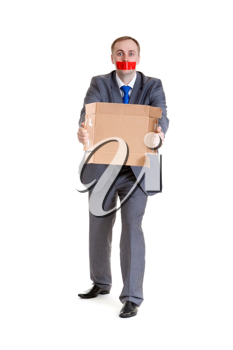 Royalty Free Photo of a Businessman With a Taped Mouth