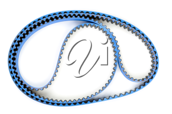 Blue tuning belt from the motor vehicle on a white background