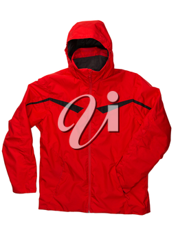 Red winter jacket isolated on white background