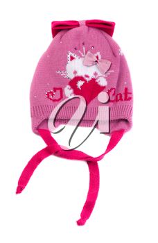 Pink baby hat with laces. Isolate on white.